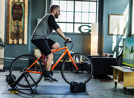 Cyclist on indoor trainer